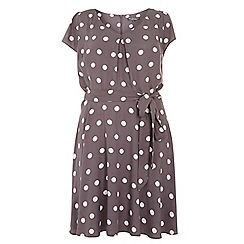 Dorothy Perkins - Billie curve grey woven spot tea dress