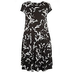 Dorothy Perkins - Billie curve black all over dragonfly print dress