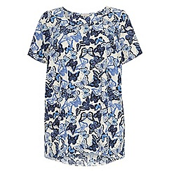 Dorothy Perkins - Billie curve: butterfly print cream high low hem top