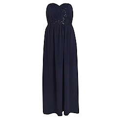 Dorothy Perkins - Showcase curve navy bandeau embroidered maxi dress