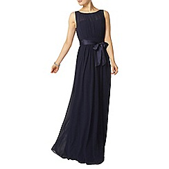 Dorothy Perkins - Showcase navy satin tie waist maxi dress