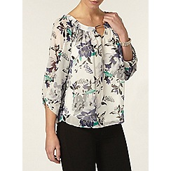 Dorothy Perkins - Billie petites ivory floral bubble hem blouse