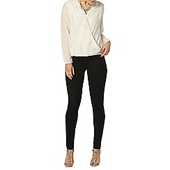 Dorothy Perkins - Billie black label ivory snake wrap blouse