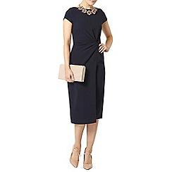 Dorothy Perkins - Luxe navy woven knot detail dress