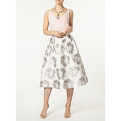 Dorothy Perkins - Silver floral prom skirt