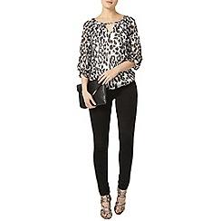 Dorothy Perkins - Mono leopard trim blouse