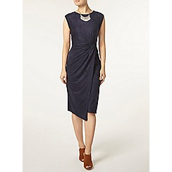Dorothy Perkins - Luxe navy suedette knot dress