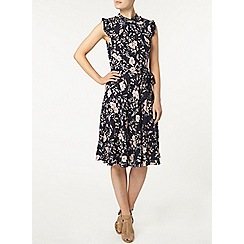 Dorothy Perkins - Billie & blossom navy floral ruffle neck dress
