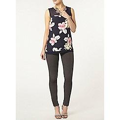 Dorothy Perkins - Navy floral print sheer blouse