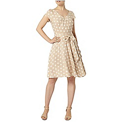 Dorothy Perkins - Billie and blossom taupe spot fit and flare dress