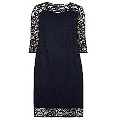 Dorothy Perkins - Billie curve navy 3/4 sleeve lace dress