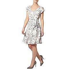 Dorothy Perkins - Billie petites grey floral v neck dress