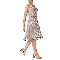 Dorothy Perkins - Billie petites grey spot keyhole dress