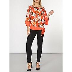 Dorothy Perkins - Orange floral kimono top