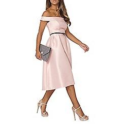 Dorothy Perkins - Luxe dusky pink bardot prom midi dress