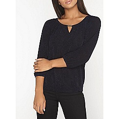 Dorothy Perkins - Billie and blossom navy metallic trim top