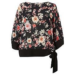 Dorothy Perkins - Billie and blossom curve black floral kimono top