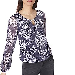 Dorothy Perkins - Billie black label navy floral trim blouse