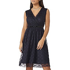 Dorothy Perkins - Billie black label navy lace belt dress