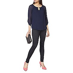 Dorothy Perkins - Blue billie and blossom trim blouse