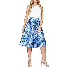 Dorothy Perkins - Luxe blue printed hi-lo skirt