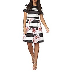 Dorothy Perkins - Luxe striped floral cap sleeve prom dress