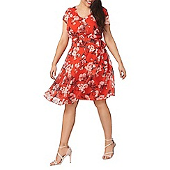 Dorothy Perkins - Billie and Blossom curve red floral print dress