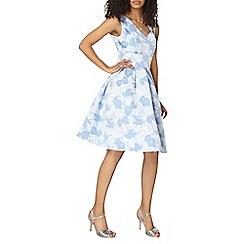Dorothy Perkins - Luxe blue leaf jacquard dress