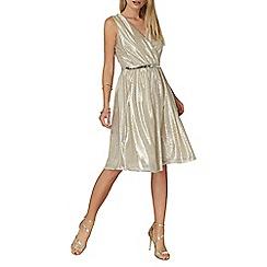 Dorothy Perkins - Billie black label gold cross over midi dress