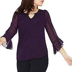 Dorothy Perkins - **Billie & Blossom purple flute sleeves top