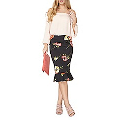 Dorothy Perkins - Floral pep-hem pencil skirt