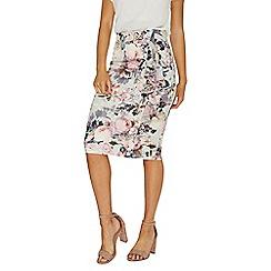 Dorothy Perkins - Grey floral print frill scuba pencil skirt