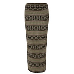 Dorothy Perkins - Tall green tribal maxi skirt