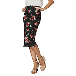 Dorothy Perkins - Black rose lace pencil skirt