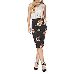 Dorothy Perkins - Black floral pencil skirt