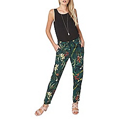 Dorothy Perkins - Green floral tie trousers