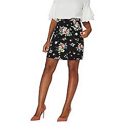 Dorothy Perkins - Black floral print ruffle mini skirt