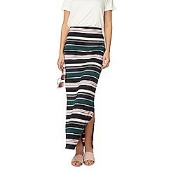 Dorothy Perkins - Green and blush stipe maxi skirt
