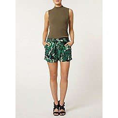 Dorothy Perkins - Khaki leaf printed short with tie waist detail