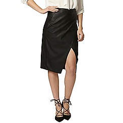 Dorothy Perkins - Black pu wrap skirt