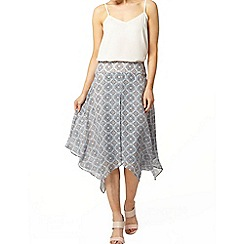 Dorothy Perkins - Blue tile hi-low hem skirt