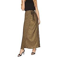 Dorothy Perkins - Gold wrap maxi skirt