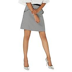 Dorothy Perkins - Black dogtooth print ruffle mini skirt