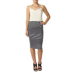 Dorothy Perkins - Navy and white stripe pencil skirt