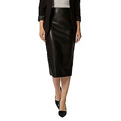 Dorothy Perkins - Black pu high waisted pencil skirt
