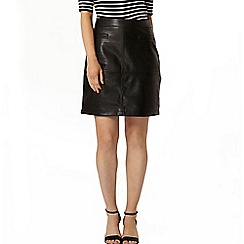 Dorothy Perkins - Black pu pocket a line mini skirt