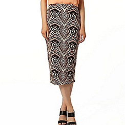 Dorothy Perkins - Tan and black tribal pencil skirt