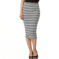 Dorothy Perkins - Grey zig zag knitted pencil skirt
