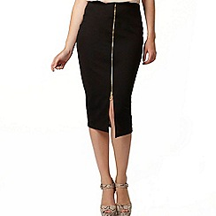 Dorothy Perkins - Black rib zip front pencil skirt