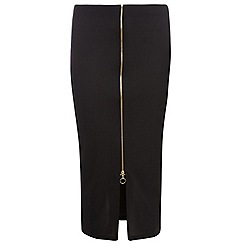 Dorothy Perkins - Tall black zip front tube skirt
